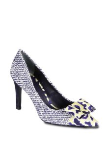 Tory Burch Tweed Glitter Bows Stiletto Navy & White Pumps