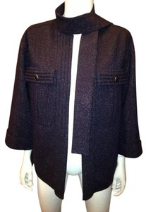 Chanel Jewel Brooch Wool Dark Navy Jacket
