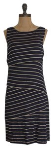 Matty M short dress BLUE Sample Shift Raw Edge Striped on Tradesy