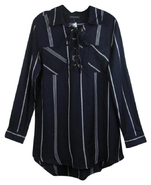 Item - Dark Navy Lace-up Striped Long Sleeve Button-down Top Size 16 (XL, Plus 0x)
