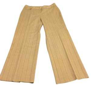 Ann Taylor Trouser Pants light tan with pink and brown pinstripes