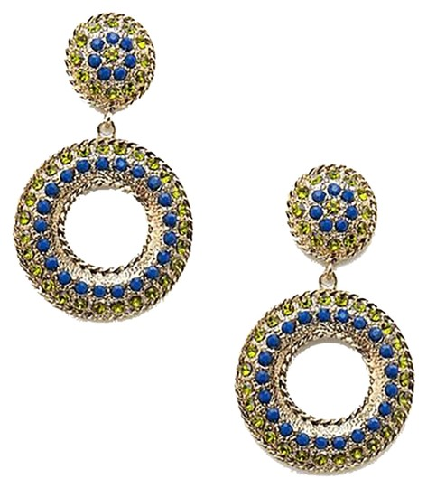 Cära Couture Jewelry Cara Couture - Post Donut Stone Gold Disc Earrings w/ Blue & Green