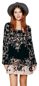 Free People short dress black combo Babydoll Bell Sleeves Floral on Tradesy