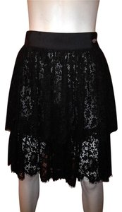Chanel Pleated Lace Culotte Skirt Black