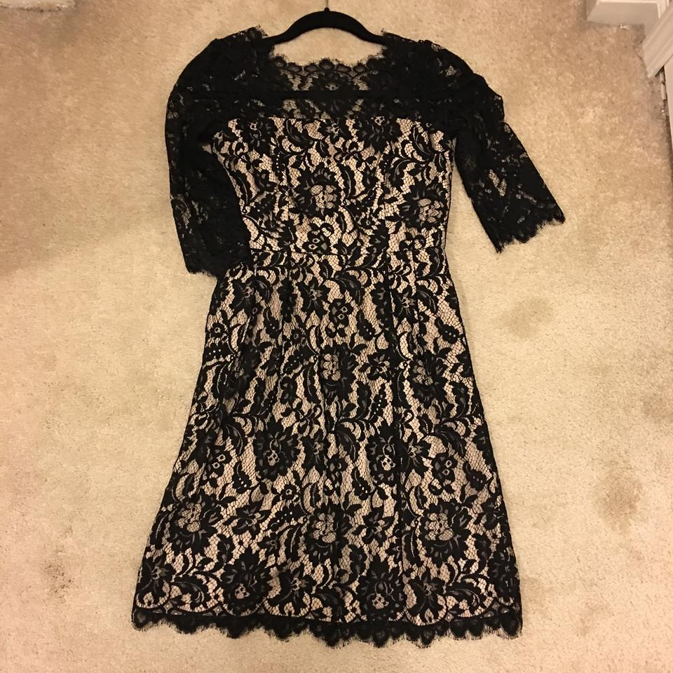MILLY Black Nude Sara Lace Shift Short Cocktail Dress Size