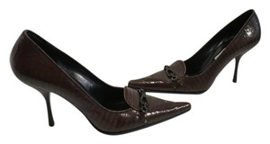 Sebastian Milano Snake Pattern Made Italy Brown embossed leather business style Italian E37 Pumps