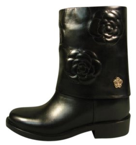 Chanel New Flower Camellia Black Boots