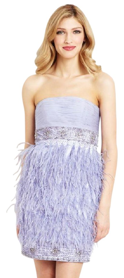 609424b7976a Sue Wong Periwinkle N0541 Beaded Strapless Ostrich Feather Cocktail Dress