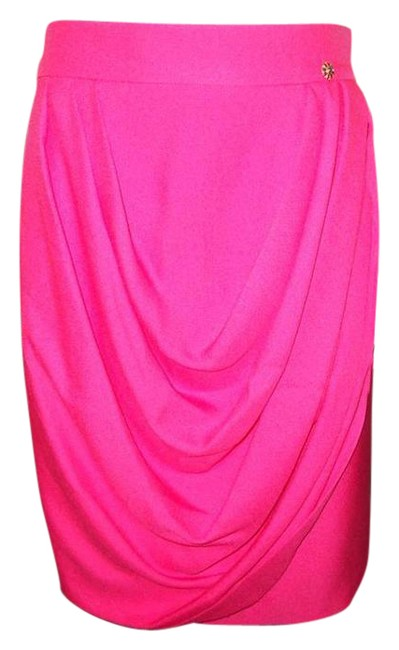 Chanel Pink 12a Runway Silk Faux Wrap Draped Jewel Button 38 Fr 2 Us Skirt Size 4 (S, 27) Chanel Pink 12a Runway Silk Faux Wrap Draped Jewel Button 38 Fr 2 Us Skirt Size 4 (S, 27) Image 1