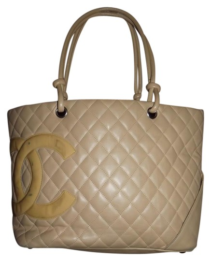 Chanel Handle Quilted Cambon Tote in beige