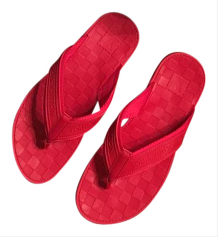 8c734c462a02be Louis Vuitton Red Mens Key Damier Flip Flops Sandals Size US 8 ...
