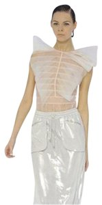 Chanel Chiffon Silk Organza Sheer Top White/Light Pink