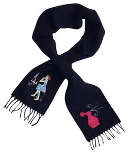 Anne Klein Anne Klein Embroidered Wool Blend Scarf