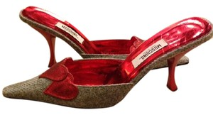 Moschino Gray Red Mules
