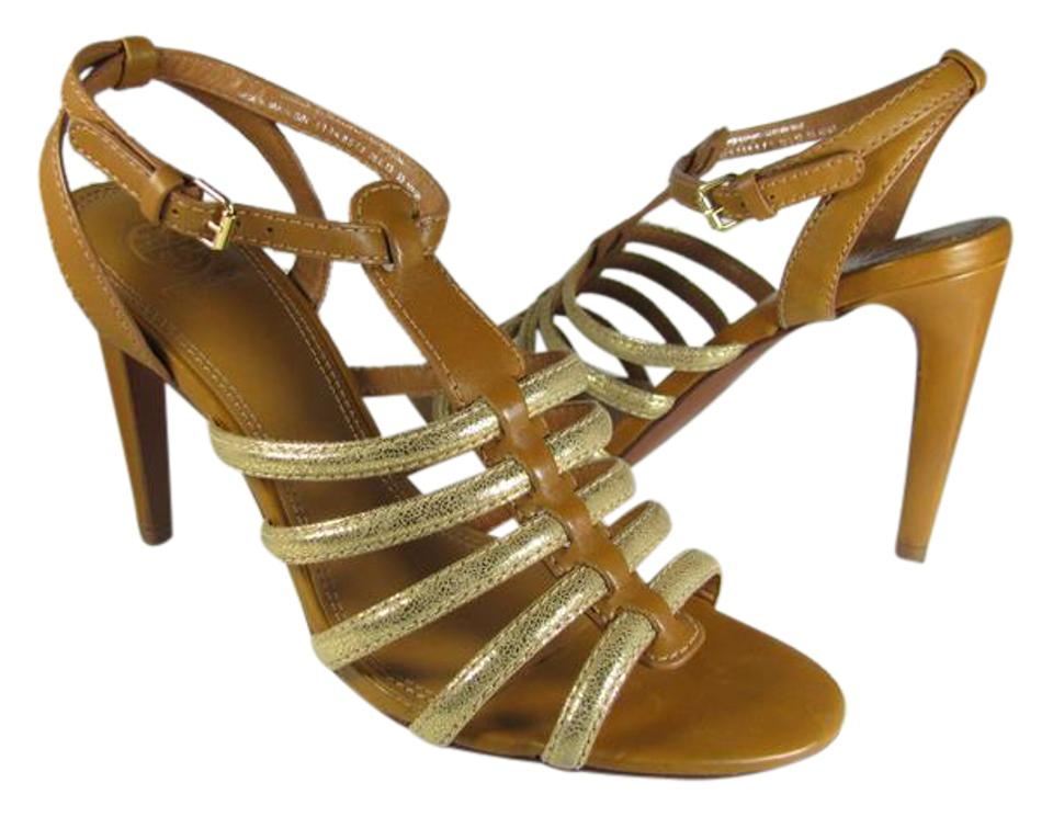 fa85966e5bf8 Tory Burch Brown  Gold New Charlene Brown  Gladiator Sandals Size US ...