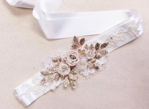 Haute Bride Design Custom Sash In Ivory Sh74