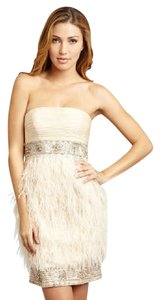 Sue Wong Feather Ostrich Beaded Strapless Dress