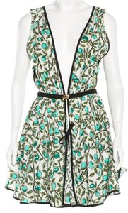 Louis Vuitton short dress Black, White, Green Floral Belted Gold Hardware Lv on Tradesy