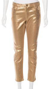 Louis Vuitton Metallic Hardware Skinny Pants Gold