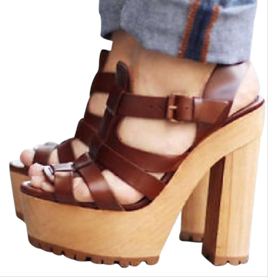 Zara Leather Platform Wooden Heel Brown Sandals Sandals