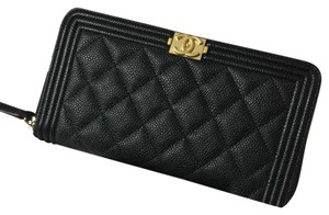 Chanel Chanel Long Boy Zip Around Wallet in Black Caviar Leather Gold HW