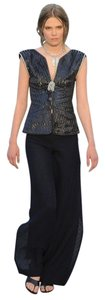 Chanel Leather Crystal Vest Top Navy Blue