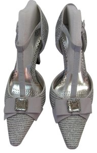 J. Renee Silver, Gray, Pumps