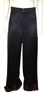 Chanel Silk Satin Wide Leg Pants Black
