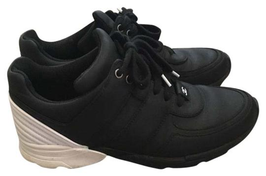 Chanel Sneakers Trainer Tennis Size 38.5 Black White Athletic Image 1