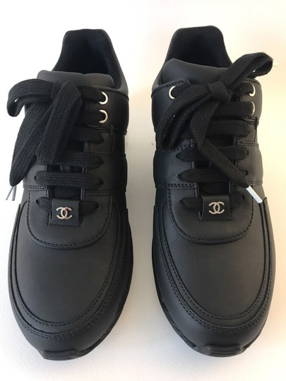 Chanel Sneakers Trainer Tennis Size 38.5 Black White Athletic Image 11