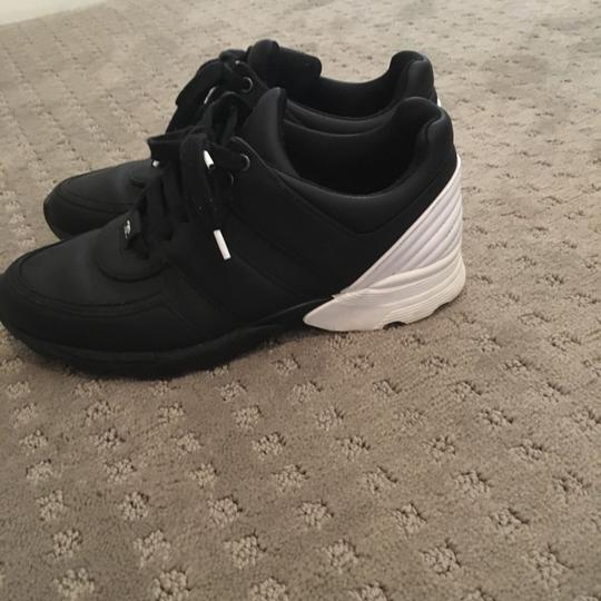 Chanel Sneakers Trainer Tennis Size 38.5 Black White Athletic Image 4