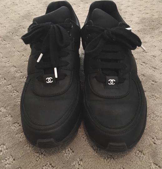 Chanel Sneakers Trainer Tennis Size 38.5 Black White Athletic Image 5