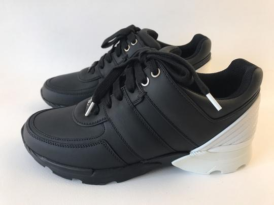 Chanel Sneakers Trainer Tennis Size 38.5 Black White Athletic Image 6