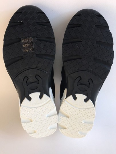 Chanel Sneakers Trainer Tennis Size 38.5 Black White Athletic Image 9