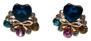 Betsey Johnson New Betsey Johnson Heart Flower Crystal Stud Earrings J3093