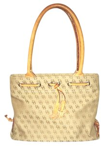 Dooney & Bourke Signature Tassels Leather Monogram Tote in Tan