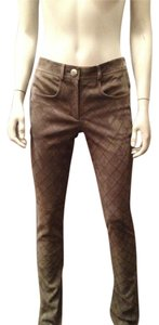 Chanel Suede Leather Quilted Jeans Skinny Pants Grey