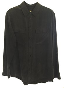 Equipment Silk Button Down Shirt Black