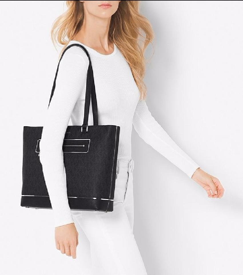 6f6c7838fef5 MICHAEL Michael Kors Frame Out Item Large North South Black Pvc Signature /  Leather Tote - Tradesy
