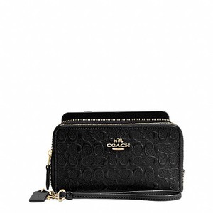 Coach DOUBLE ZIP PHONE WALLET IN SIGNATURE DEBOSSED PATENT LEATHER STYLE NO. F54808