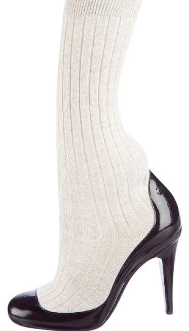 Item - Black and White Patent Sock Boots Pumps Size US 8.5 Narrow (Aa, N)