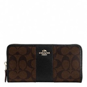 Coach ACCORDION ZIP WALLET IN SIGNATURE COATED CANVAS WITH LEATHER STRIPE