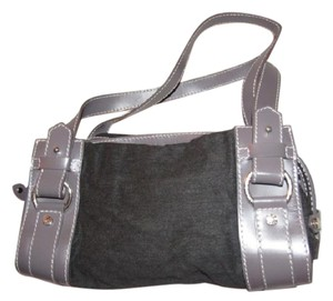 Lancel Unique Color Combo High End Bohemian Excellent Condition Great Everyday Great To Mix & Match Satchel in dark charcoal grey canvas and purple leather