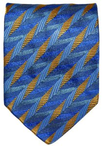 Missoni Missoni Blue & Yellow Geometric Pattern All Silk Designer Necktie Tie Made In Italy Authentic