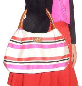 Kate Spade Satchel in Khaki bag with black, red, and pink stripes