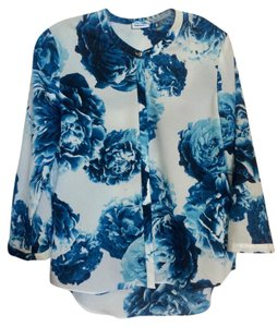 DKNY Top White/Blue Floral