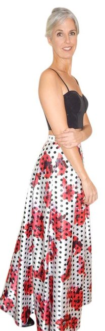 Item - Black Bustier; White Black Polka Dots and Red Poppies with Purple Accents 151a13330 Skirt Size 6 (S, 28)
