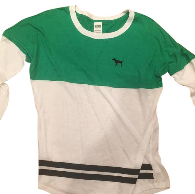 Item - White and Green Long Sleeve Tee Shirt Size 8 (M)