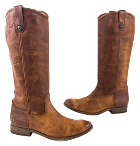 Frye Distressed Leather Brown Distressed Cognac Boots