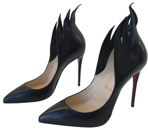 Christian Louboutin Victorina Stiletto Flame Leather Kid Black Pumps